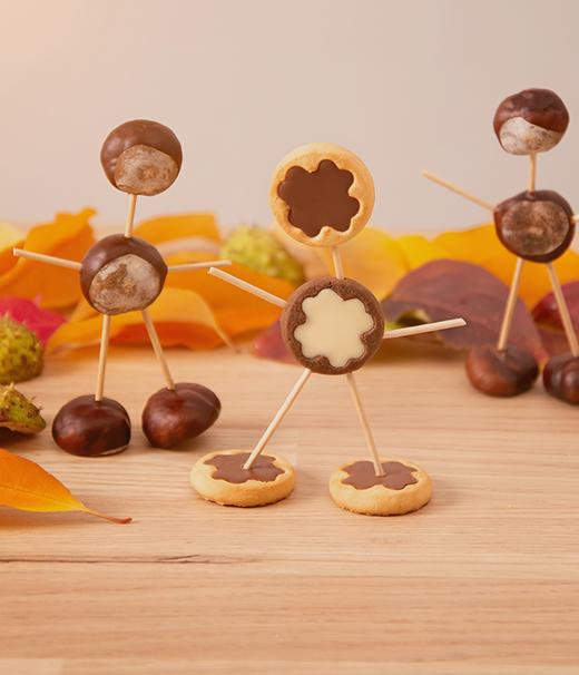 Keks-Mann und Kastanien-Mann basteln nach dem Herbstspaziergang